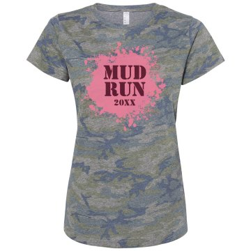 Mud Run Camo Misses Relaxed Fit Code V Jersey Pink Camo Tee