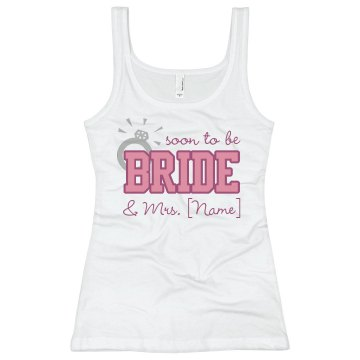 Soon To Be Bride Junior Fit Basic Bella 2x1 Rib Tank Top