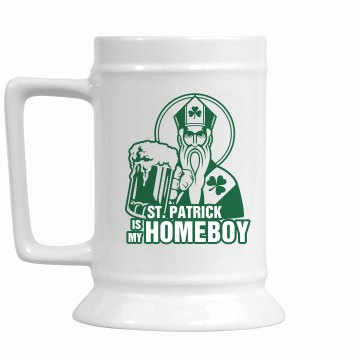 St. Patrick Homeboy 28oz Gold Trim Ceramic Stein