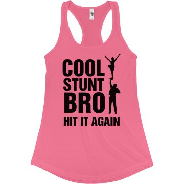 Cheer Cool Stunt Bro Tank Junior Fit Bella Sheer Longer Length Rib Racerback Tank Top