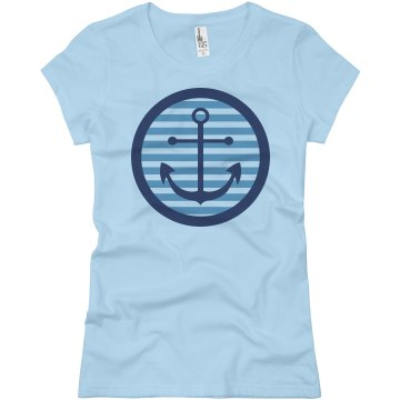 Nautical Anchor Tee Junior Fit Basic Bella Favorite Tee
