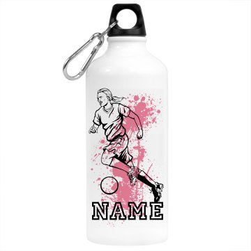 Girl Soccer Player Aluminum Water Bottle