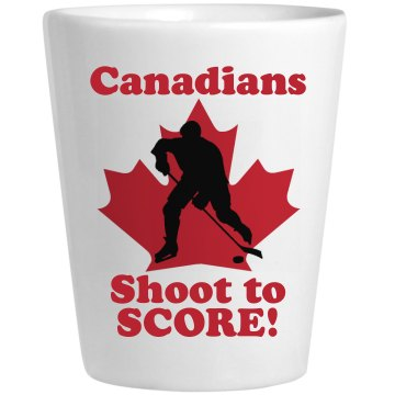 Canadians Shoot to Score Ceramic Shotglass