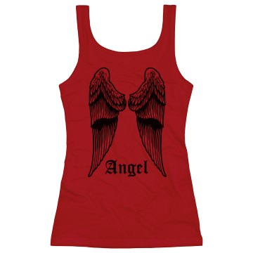 Angel Wing Back Tank Junior Fit Bella Sheer Longer Length Rib Tank Top