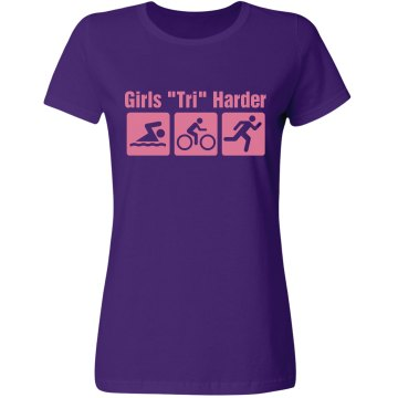 Girls Tri Harder Misses Relaxed Fit Gildan Ultra Cotton Tee