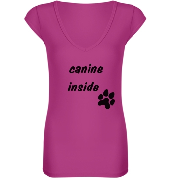 Canine Inside Junior Fit Bella Sheer Longer Length Rib V-Neck Tee