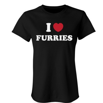 I Love Furries Junior Fit Bella 1x1 Rib Ringer Tee