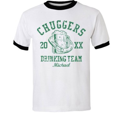 Chuggers Drinking Team Unisex Anvil Ringer Tee