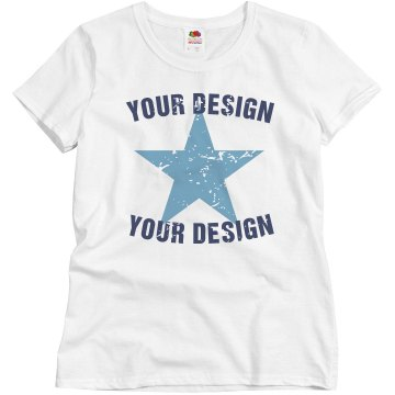 Distressed Star Tee Misses Relaxed Port & Company Essential Tee