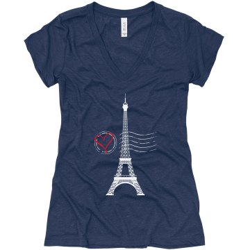 From France With Love Junior Fit Bella Triblend Deep V Neck Tee