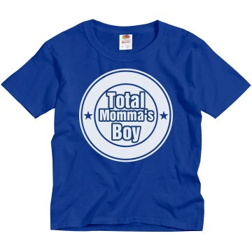 Total Momma's Boy Youth Gildan Heavy Cotton Crew Neck Tee