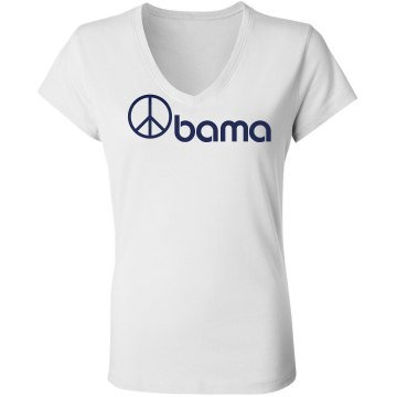 Obama Peace Sign Junior Fit Bella Sheer Longer Length Rib V-Neck Tee