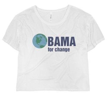 Obama For Change Misses Bella Flowy Boxy Lightweight Crop Tee