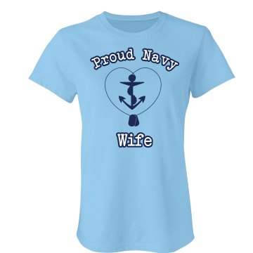 Proud Navy Wife Junior Fit Bella Sheer Longer Length Rib Tee