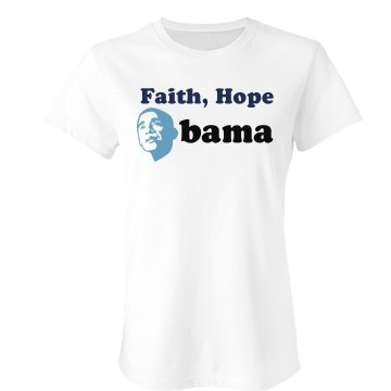 Faith, Hope, Obama Junior Fit Bella Sheer Longer Length Rib Tee