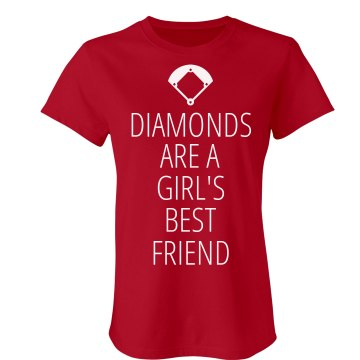 Softball Diamonds Junior Fit Bella Sheer Longer Length Rib Tee