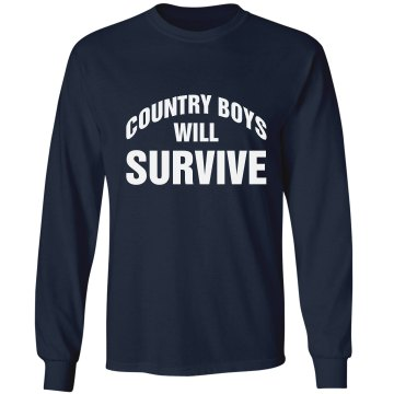 Country Boys Will Survive Unisex Gildan Ultra Cotton Long Sleeve Tee