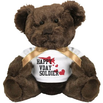 Happy Vday Soldier Medium Plush Teddy Bear