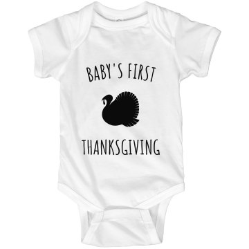 Baby's First Thanksgiving Infant Rabbit Skins Lap Shoulder Creeper