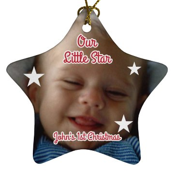 Baby Photo Ornament Porcelain Star Ornament