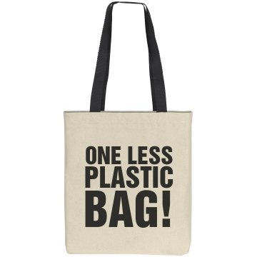 One Less Plastic Bag Liberty Bags Cotton Canvas Tote
