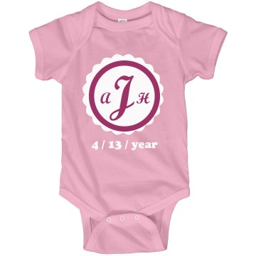 Birth Date Onesie Infant Rabbit Skins Lap Shoulder Creeper