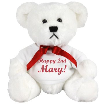 Happy 2nd Mary Bear Medium Plush Teddy Bear
