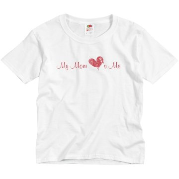 My Mom Loves Me Youth Basic Gildan Ultra Cotton Crew Neck Tee