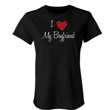 I Heart My Boyfriend Junior Fit Bella Double V Sheer Jersey Tee