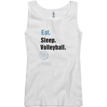 Eat. Sleep. Volleyball. Junior Fit Basic Bella 2x1 Rib Tank Top