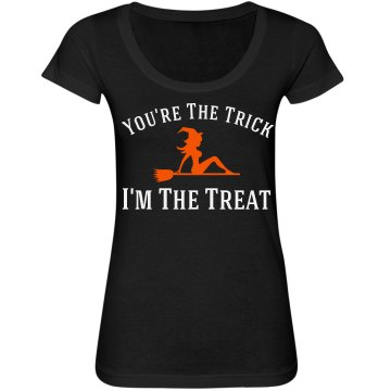 I'm the Halloween Treat Junior Fit Bella Sheer Longer Length Scoopneck Tee