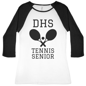 DHS Tennis Senior Junior Fit Bella 1x1 Rib 3/4 Sleeve Raglan Tee