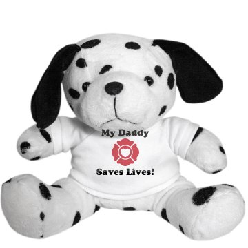My Daddy Saves Lives Dog Plush Dalmatian Dog