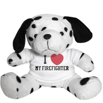 I Heart My Firefighter  Plush Dalmatian Dog