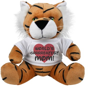 World's Greatest Mom  Plush Tiger