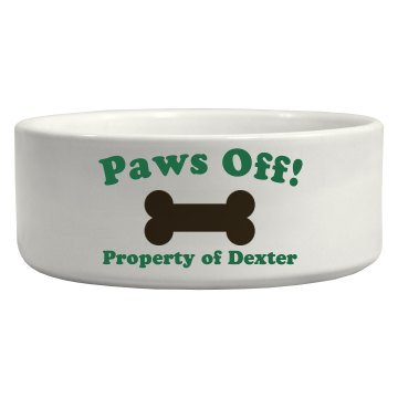 Paws Off Pet Bowl Ceramic Pet Bowl