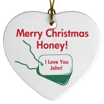 Military Christmas Love  Porcelain Heart Ornament