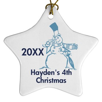 Child's Christmas  Porcelain Star Ornament