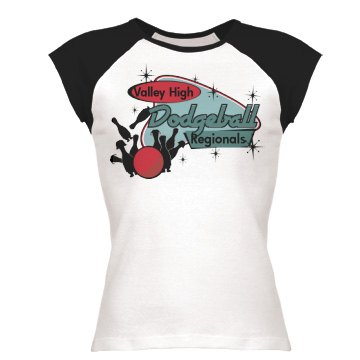 Valley High Dodgeball  Junior Fit Bella 1x1 Rib Ringer Tee