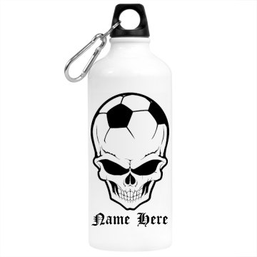 Soccer Skull Ball Aluminum Water Bottle