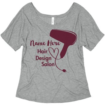 Northwest Hair Salon Junior Fit Bella Sheer Longer Length Scoopneck Tee