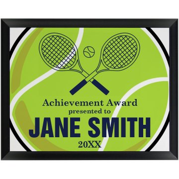 Tennis Achievement Award Round Wood Plaque