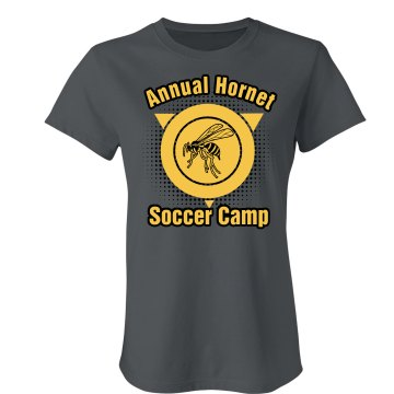 Annual Hornet Soccer Camp Junior Fit Bella Crewneck Jersey Tee