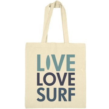 Live Love Surf Tote Liberty Bags Canvas Bargain Tote Bag