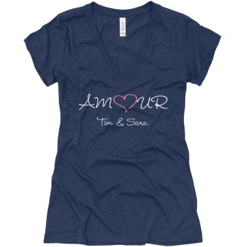 Amour Love Tee Junior Fit Bella Triblend Deep V Neck Tee