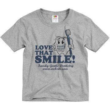 Love That Smile Dentist Youth Basic Gildan Ultra Cotton Crew Neck Tee