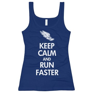 Keep Calm & Run Faster Junior Fit Bella Sheer Longer Length Rib Tank Top