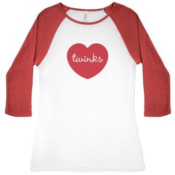 I Love Twinks Gay Pride Junior Fit Bella 1x1 Rib Ringer Tee