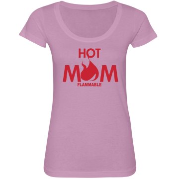 Hot Mom Junior Fit Bella Sheer Longer Length Rib V-Neck Tee 