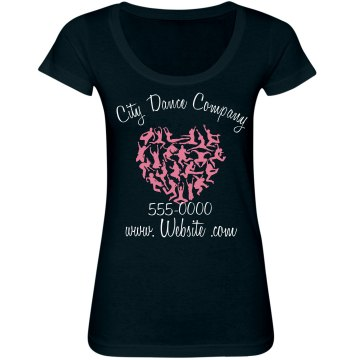 City Dance Company Junior Fit Bella Sheer Longer Length Scoopneck Tee